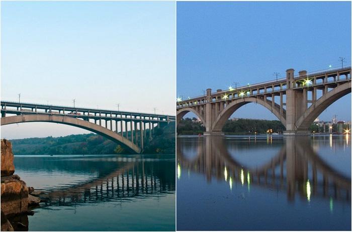Два моста над Днепром, соединяющие левый и правый берег Запорожья через о-в Хортица.